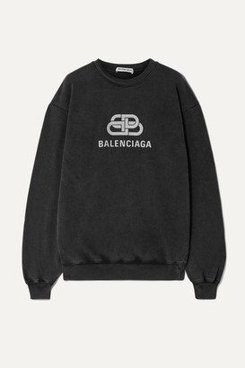 Balenciaga Oversized Printed Cotton-jersey Sweatshirt - Anthracite