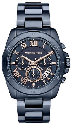 Michael Kors Chronograph Brecken Navy IP Stainless Steel Bracelet Watch