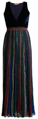 Missoni V Neck Velvet Striped Lurex Maxi Dress - Womens - Black Multi
