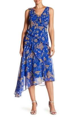 Taylor Paisley Asymmetrical Midi Dress