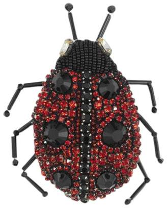 Gucci Silver Tone Metal Black Red Ladybug Crystal Pin Brooch