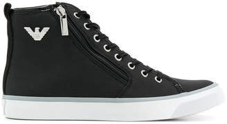 Emporio Armani patent-trimmed hi-top sneakers