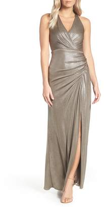 Adrianna Papell Ruched Metallic Jersey Gown