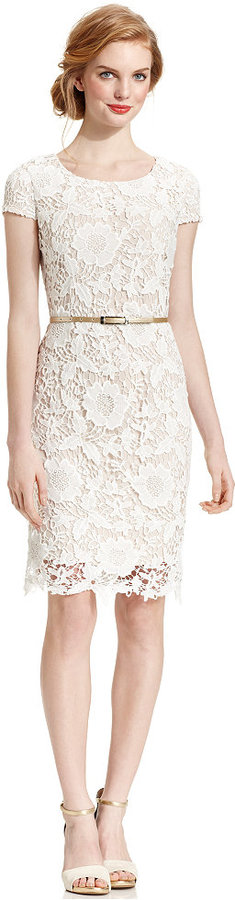 Luxology Dress, Cap-Sleeve Belted Crochet Lace