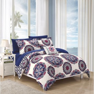 Chic Home 8-Piece Catalonia Super soft microfiber Large Printed Medallion REVERSIBLE with Geometric Printed Backing King Bed In a Bag Comforter Set Navy With sheet set