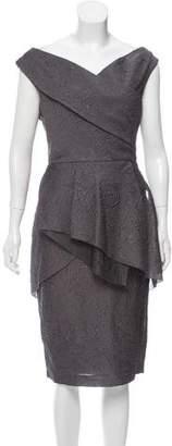 Lela Rose Off-Shoulder Midi Dress