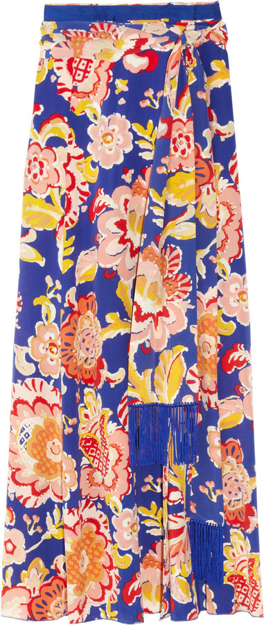 Tory Burch Marcela printed silk wrap maxi skirt