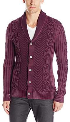 GUESS Men's Acid Wash Shawl Collar Cardigan Sweater