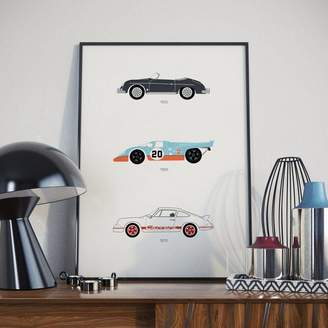 Rear View Prints Iconic Porsche Car Collection Print