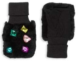 Glamour Puss Glamourpuss Multicolor Jewel Rabbit Fur-Trim Mittens