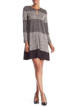 Max Studio Striped Marled Long Sleeve Dress