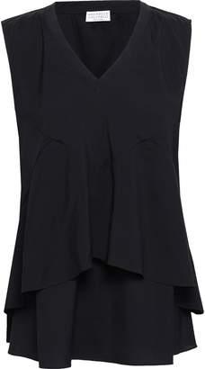 Brunello Cucinelli Bead-embellished Layered Stretch-silk Top
