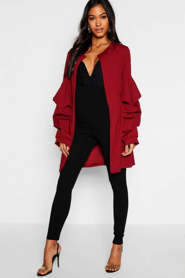 Collarless Rouche Sleeve Duster
