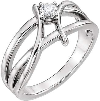 South Beach Diamonds 0.23 ct Ladies Round Cut Diamond Anniversary Rin in 18 kt White old In Size 6.5