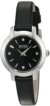 HUGO BOSS Ladies Success Women's Quartz Black Analogue Classic Black Leather Bracelet 1502382