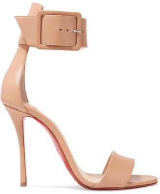 Christian Louboutin Blade Runana 100 Leather Sandals - Beige
