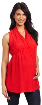 Maternal America Women's Maternity Sleeveless Mandarin Collar Wrap Shirt
