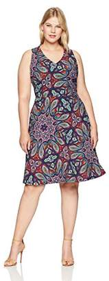 London Times Women's Plus Size Halter V Neck FIT and Flare Dress