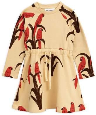 Mini Rodini Parrot Print Organic Cotton Dress 2-8 Years