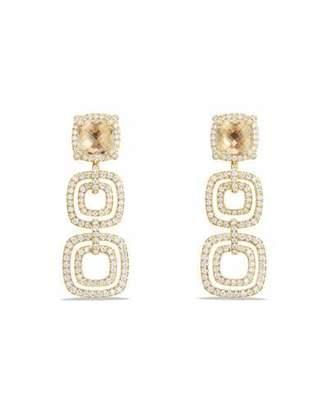 David Yurman Châtelaine Triple-Drop Champagne Citrine Earrings with Diamonds