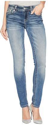 Miss Me Mid-Rise Skinny with Ruffle Back Pockets in Medium Blue Women's Jeans