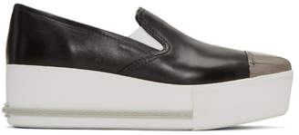 Miu Miu Black Platform Slip-On Sneakers