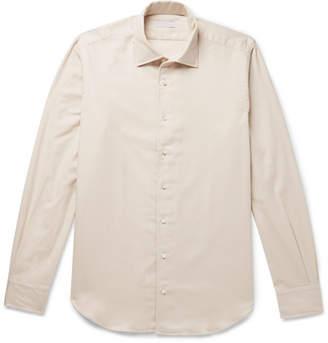 P. Johnson - Brushed-Cotton Twill Shirt - Men - Cream