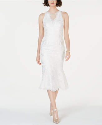 Adrianna Papell Lace Flounce-Hem Dress