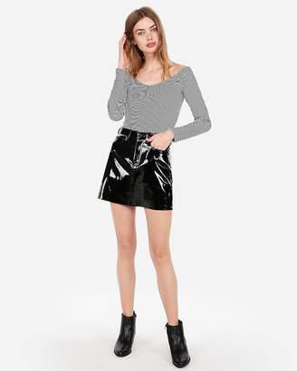 Express High Waisted Vinyl Five-Pocket Mini Skirt