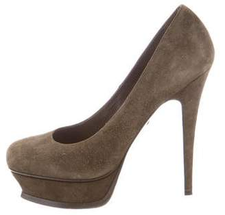 Saint Laurent Suede Platform Pumps