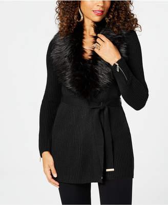 Thalia Sodi Faux-Fur Wrap Cardigan