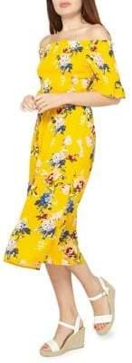 Dorothy Perkins Floral Shirred Off-the-Shoulder Dress