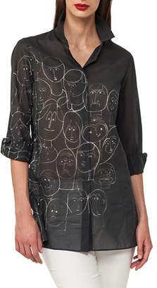 Akris Faces-Print Cotton Voile Tunic Blouse
