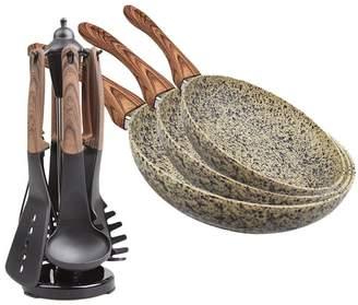 BEIGE 10 Piece Steinfurt Marble Ceramic Fry Pans & Utensil Set