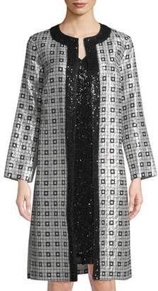 St. John Metallic Silk Chiffon Metallic-Embellished Topper Jacket