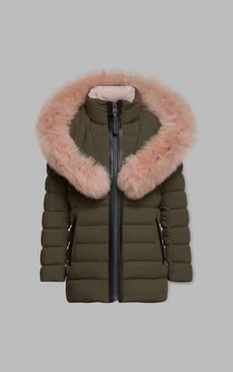 Mackage CADI matte lightweight down coat with large fur collar