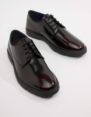 Silver Street High Shine Derby Shoes in Burgundy