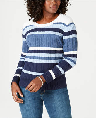 Karen Scott Striped Cotton Cable-Knit Sweater, Created for Macy's