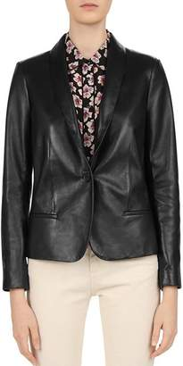 Gerard Darel Susie Shawl Collar Leather Blazer