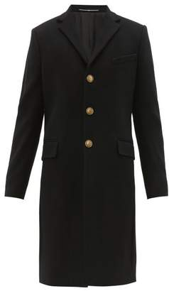 Givenchy Single Breasted Wool Blend Coat - Mens - Black
