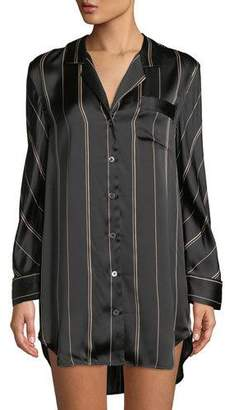 Neiman Marcus Pinstriped Silk Sleepshirt