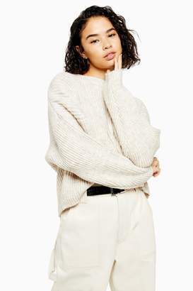 Topshop Womens Petite Oatmeal Knitted Crew Neck Jumper - Oatmeal