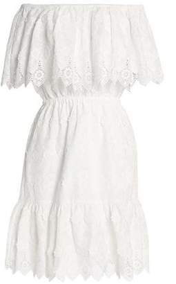Perseverance Off-the-shoulder Crochet-trimmed Embroidered Cotton Dress