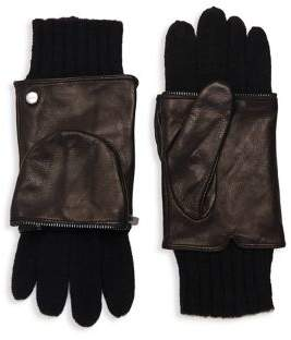 Echo Zip-Around Leather & Wool Gloves