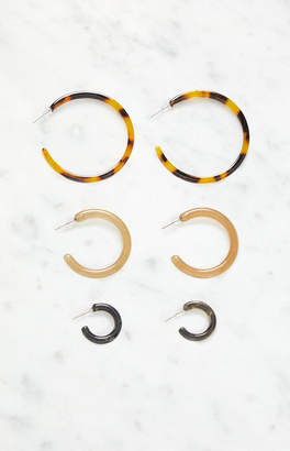LA Hearts Acrylic Hoop Earring Set