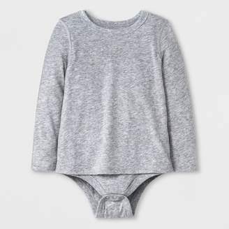 Cat & Jack Toddler Girls' Adaptive Long Sleeve Bodysuit Heather Gray