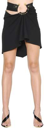 Anthony Vaccarello Piercing Draped Wool Twill Skirt