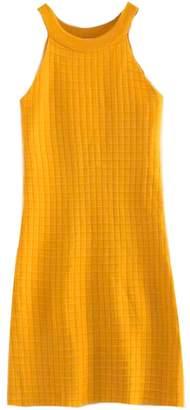 Goodnight Macaroon 'Nandita' Yellow Knitted Rib Halter Neck Midi Dress