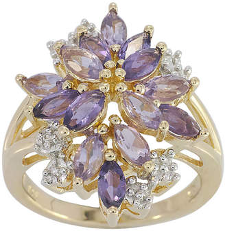 JCPenney FINE JEWELRY 14K Gold over Silver Genuine Amethyst, Genuine Pink Quartz & Lab-Created White Sapphire Flower Ring