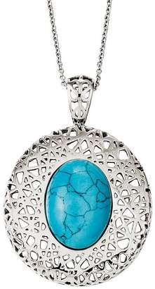 """Steel By Design Stainless Steel 18"""" Simulated Turquoise Filigree Necklace"""